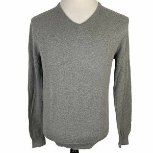 J Crew V-Neck Slim Fit Sweater Men's Medium Gray